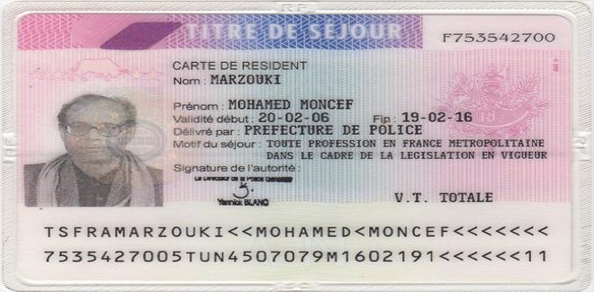 carte de résident france Marzouki publie une copie de sa carte de résident en France pour