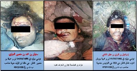 Tunisie – Le M.I. diffuse les photos des terroristes abattus à Matmata