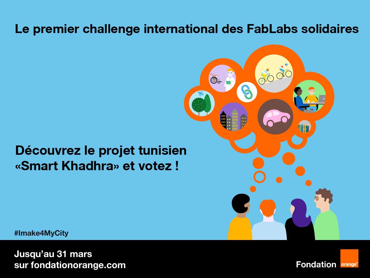 Votez tous pour le projet tunisien Smart Khadhra du FabLab solidaire JST, sélectionné pour le challenge international « I make 4 my city » !