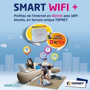 TOPNET lance le Pack SMART WIFI + : 1ère offre d'accès à l'internet en illimité avec large couverture WIFI et contenu vidéo