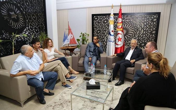 Tunisie- Rached Ghannouchi rencontre un groupe de sportifs