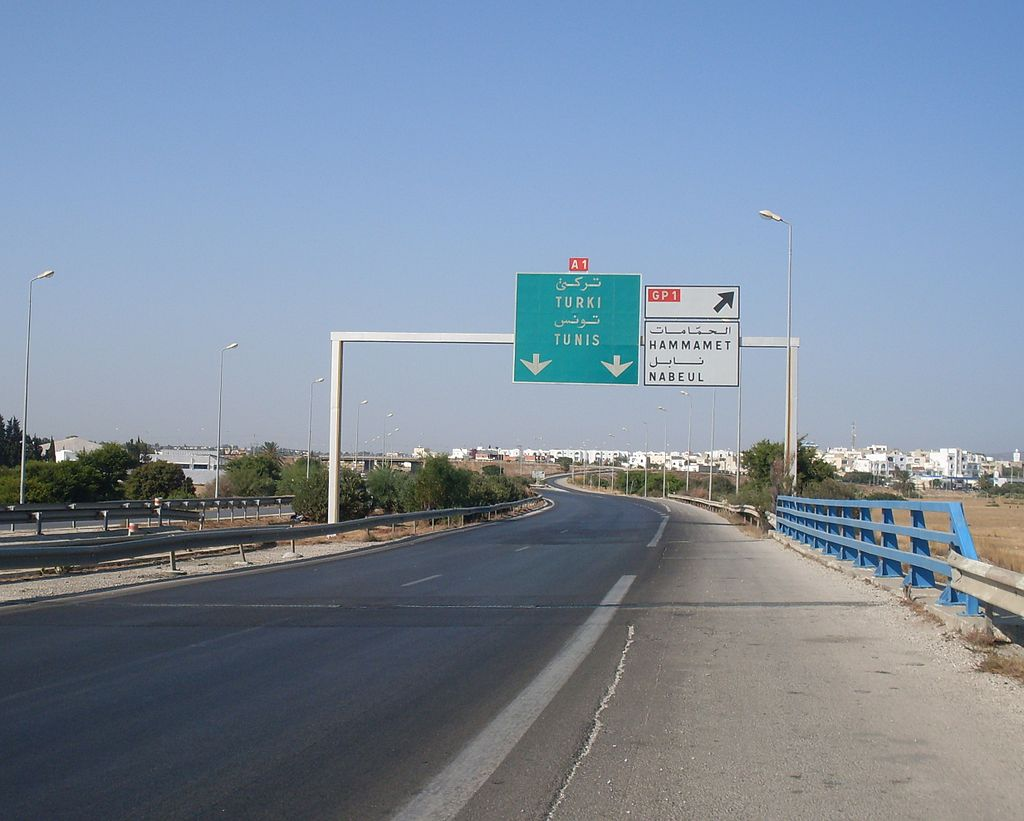 Tunisie_Autoroute_A1_sortie_Hammamet