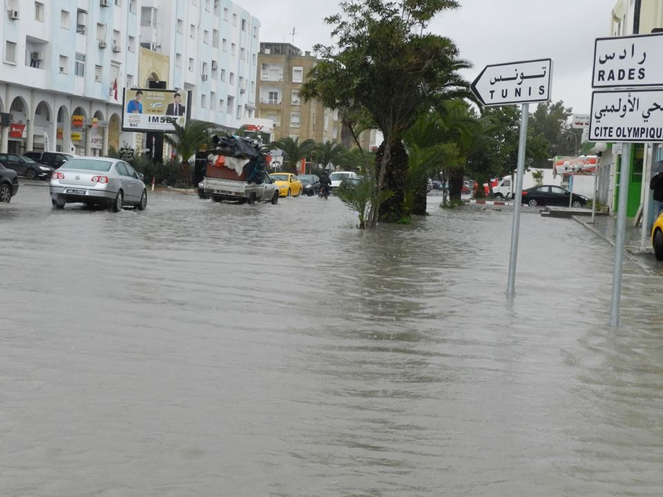 Tunisie [photos] : La ville d'Ezzahra inondée