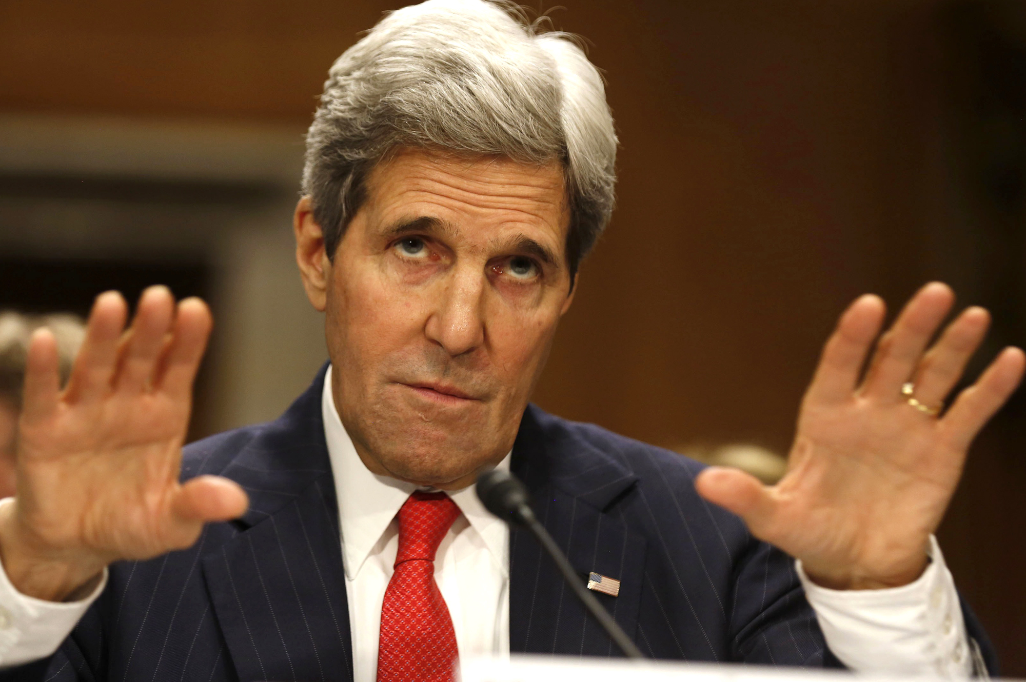 U.S. Secretary of State John Kerry testifies at the Senate Foreign Relations Committee while on Capitol Hill in Washington