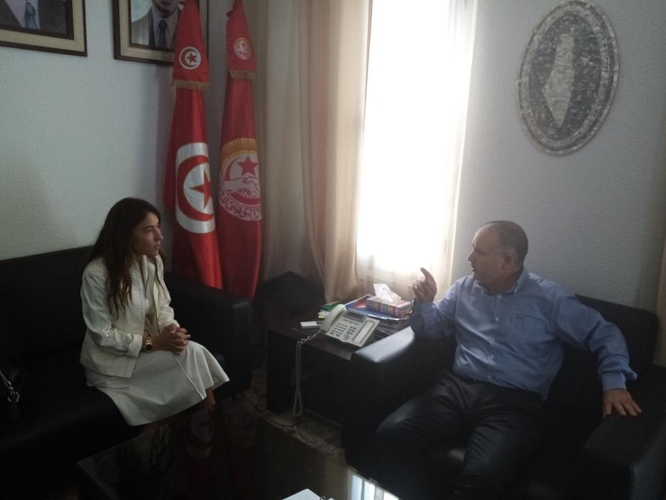 Tunisie: Noureddine Taboubi reçoit l'épouse de Nabil Karoui