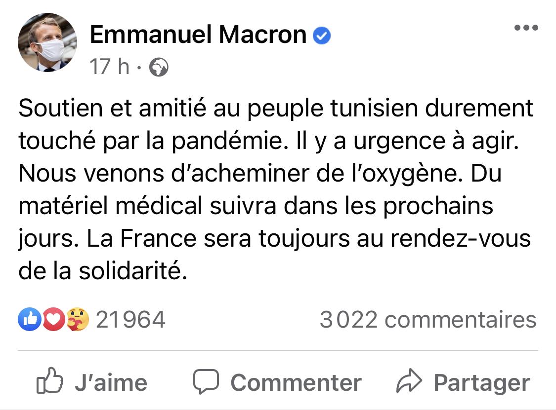 Emmanuel Macron : La France sera toujours au rendez-vous de la solidarité avec la Tunisie